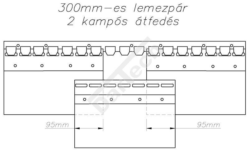 PVC szalagfüggöny, hőfüggöny acél kampósorral szerelve